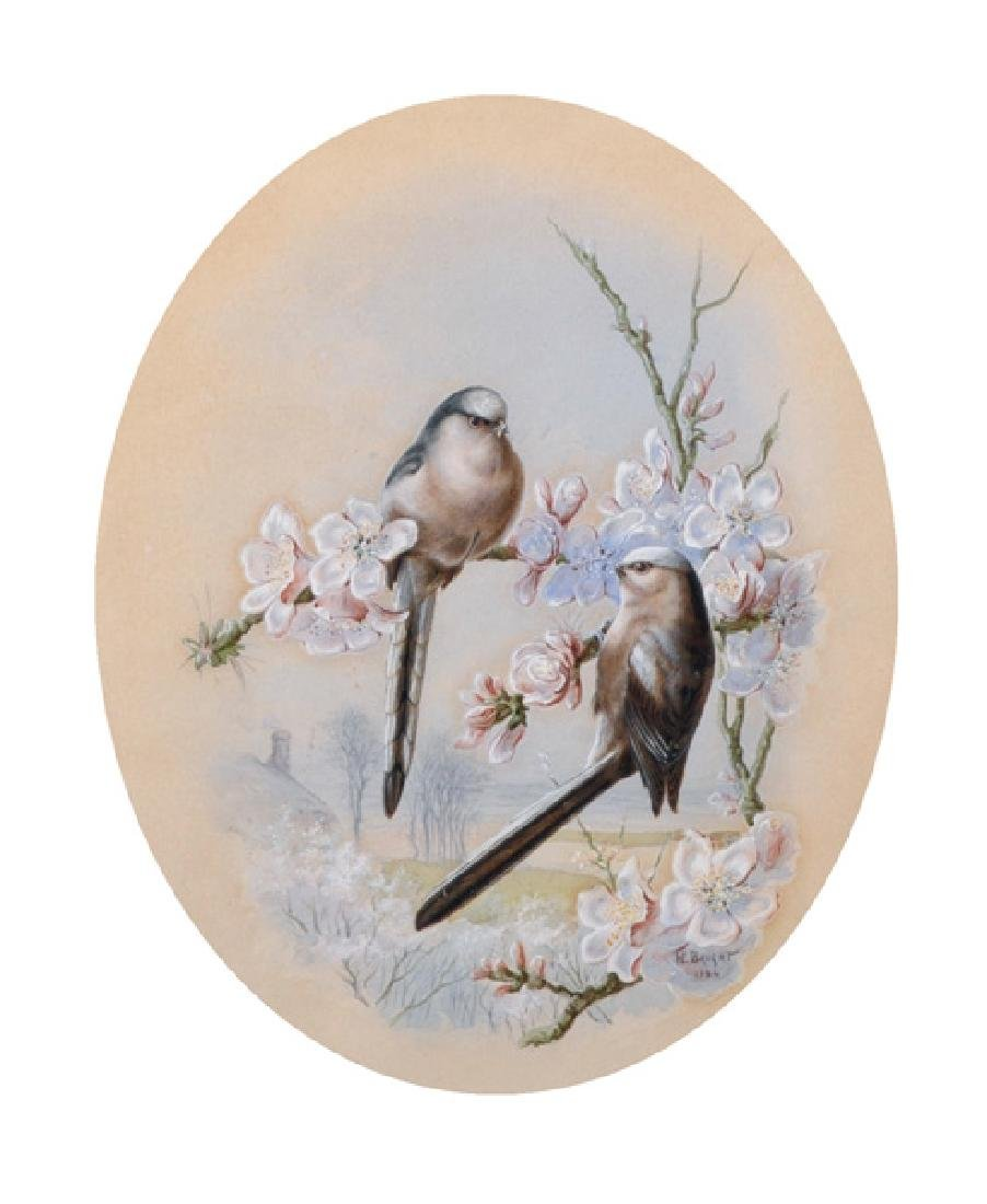 "Harry Bright (1846-1895) British. ""Long Tailed Tits"","