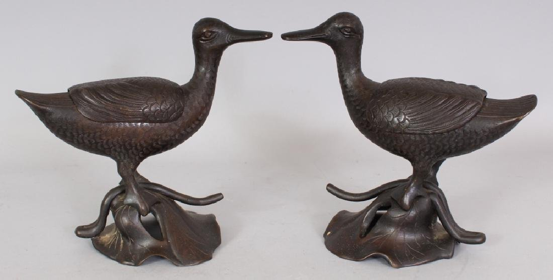 A GOOD PAIR OF 19TH CENTURY CHINESE DUCK FORM CENSERS & - 5