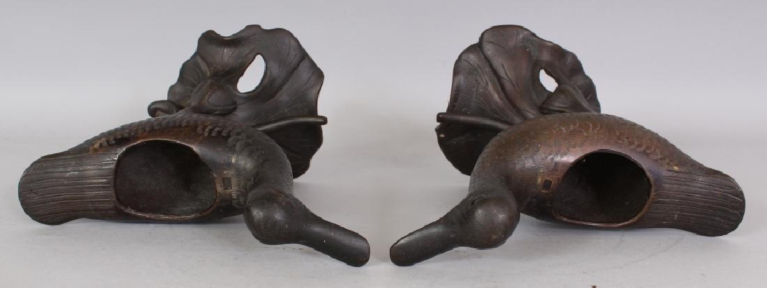 A GOOD PAIR OF 19TH CENTURY CHINESE DUCK FORM CENSERS & - 9