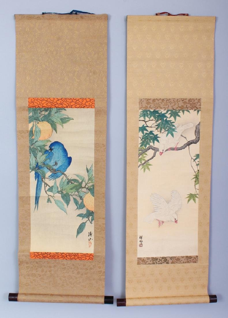 TWO GOOD QUALITY JAPANESE MEIJI PERIOD HANGING SCROLL
