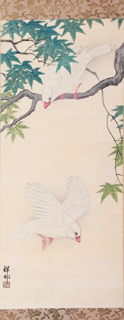 TWO GOOD QUALITY JAPANESE MEIJI PERIOD HANGING SCROLL - 4