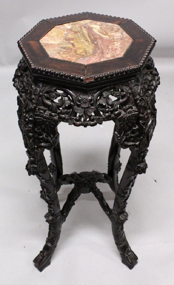 ANOTHER 19TH CENTURY CHINESE MARBLE-TOP HARDWOOD STAND,