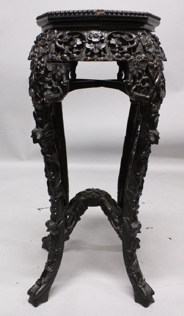 ANOTHER 19TH CENTURY CHINESE MARBLE-TOP HARDWOOD STAND, - 2