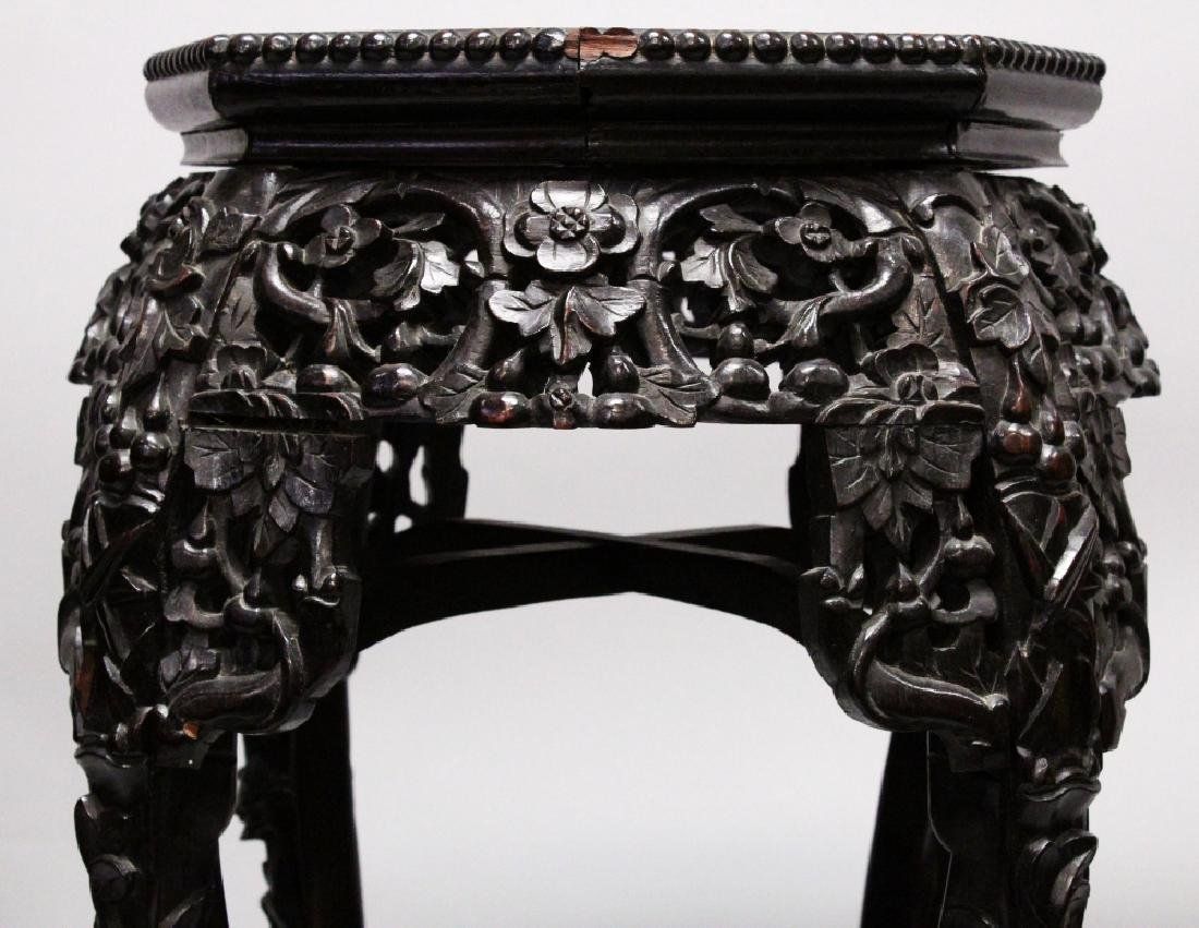 ANOTHER 19TH CENTURY CHINESE MARBLE-TOP HARDWOOD STAND, - 3