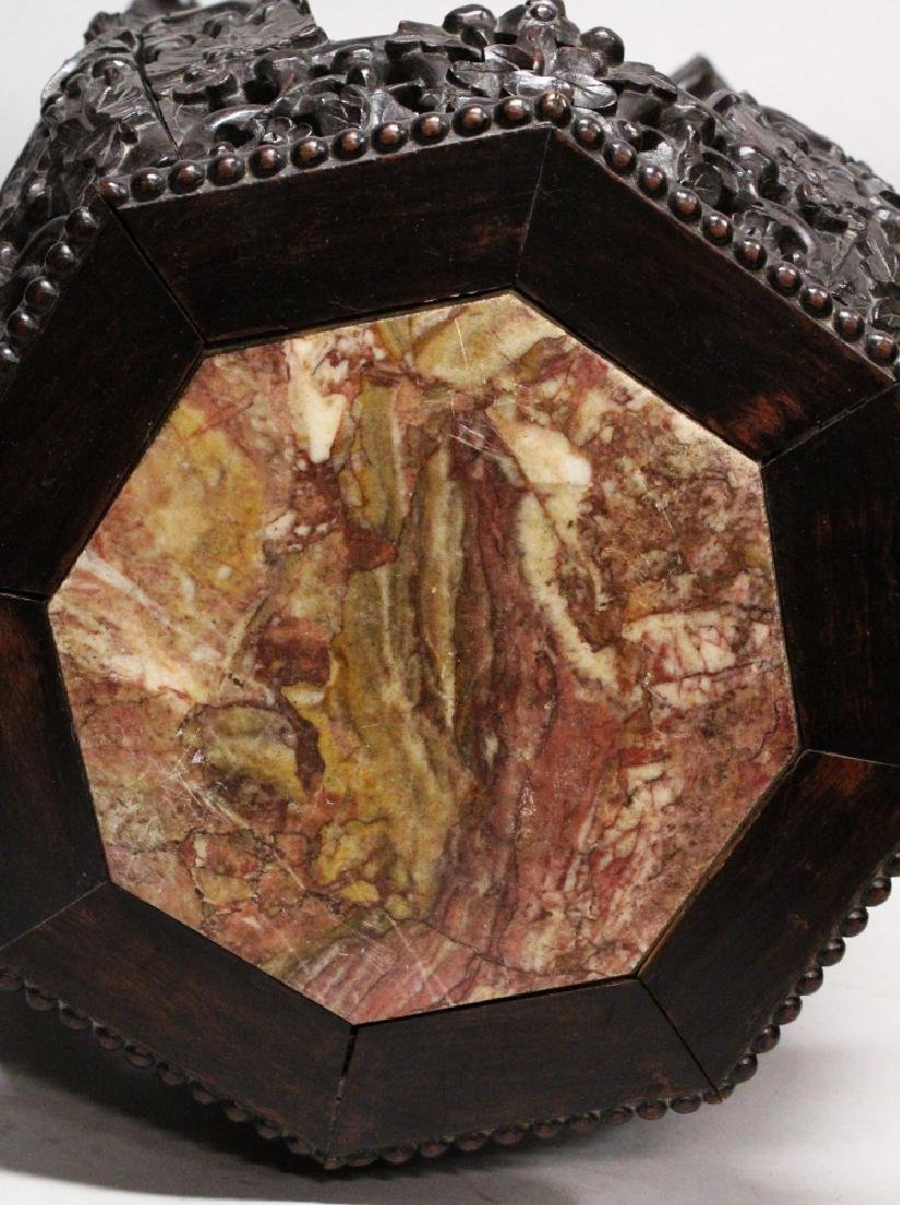 ANOTHER 19TH CENTURY CHINESE MARBLE-TOP HARDWOOD STAND, - 7