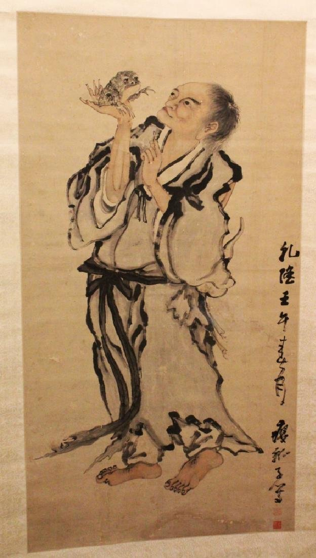A GOOD CHINESE HANGING SCROLL PAINTING ON PAPER OF LIU