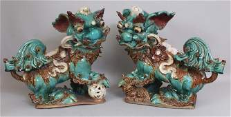 A LARGE PAIR OF EARLY 20TH CENTURY CHINESE SHIWAN