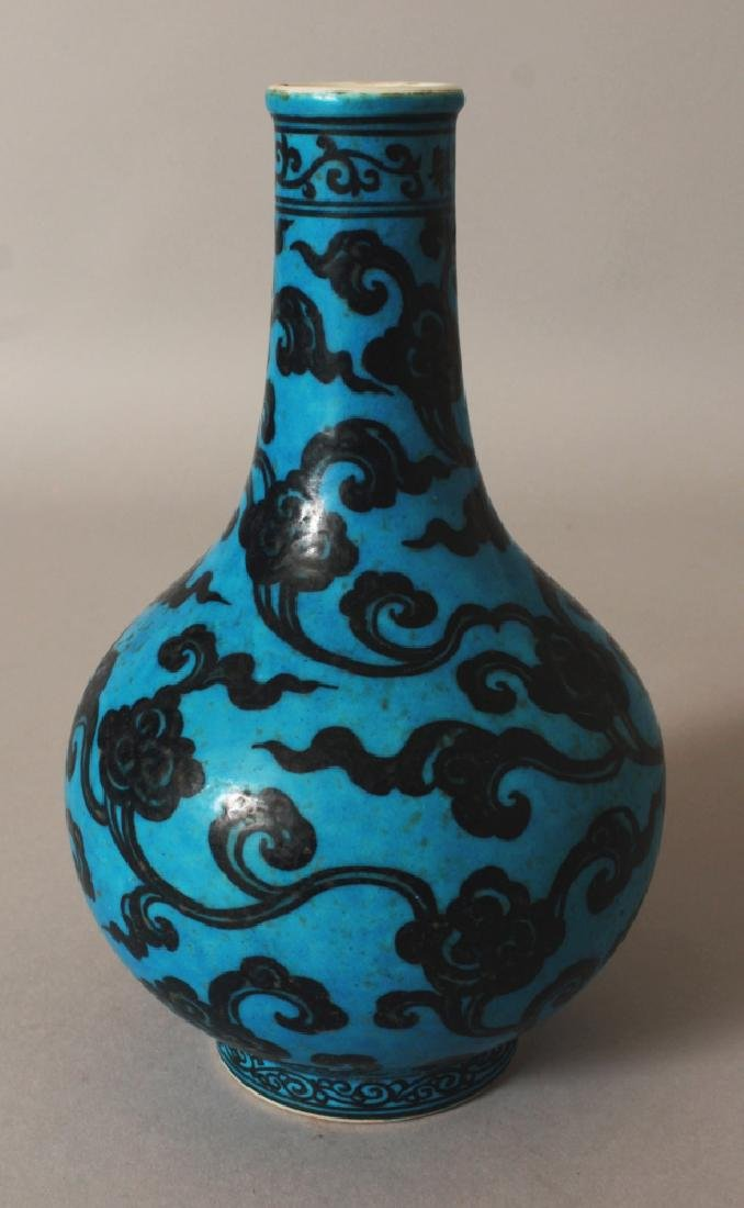 A GOOD QUALITY CHINESE MING STYLE TURQUOISE GROUND - 2
