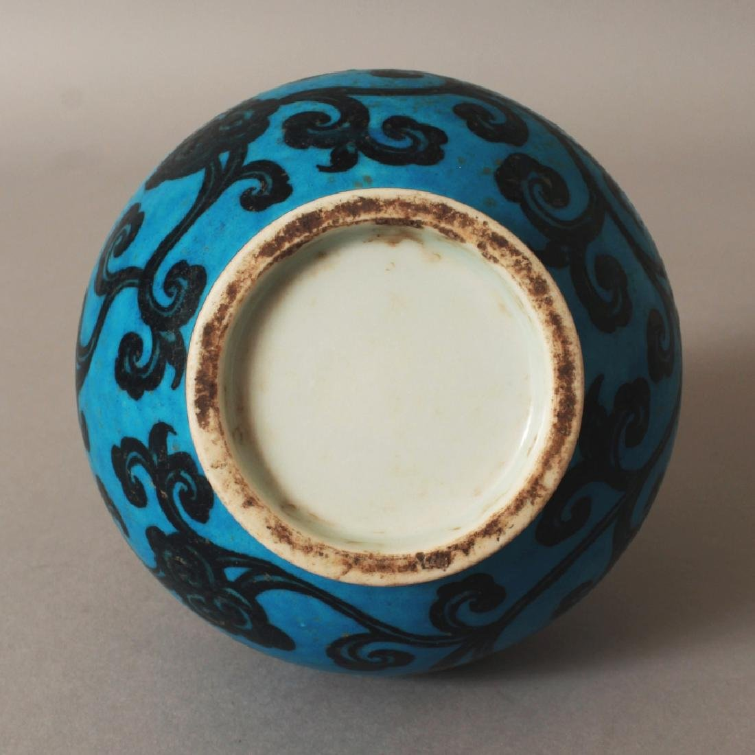 A GOOD QUALITY CHINESE MING STYLE TURQUOISE GROUND - 5