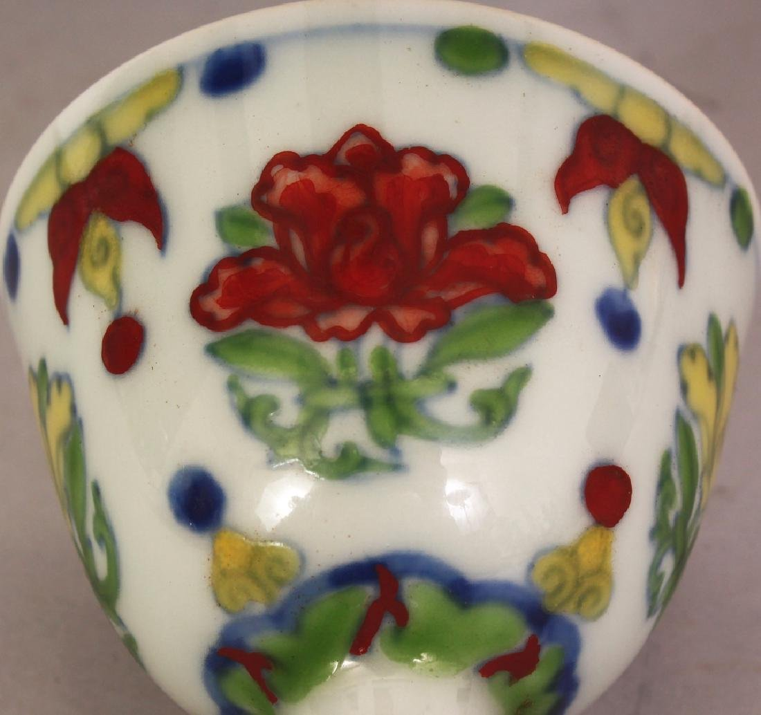 A CHINESE DOUCAI PORCELAIN STEM CUP, the inside of the - 5