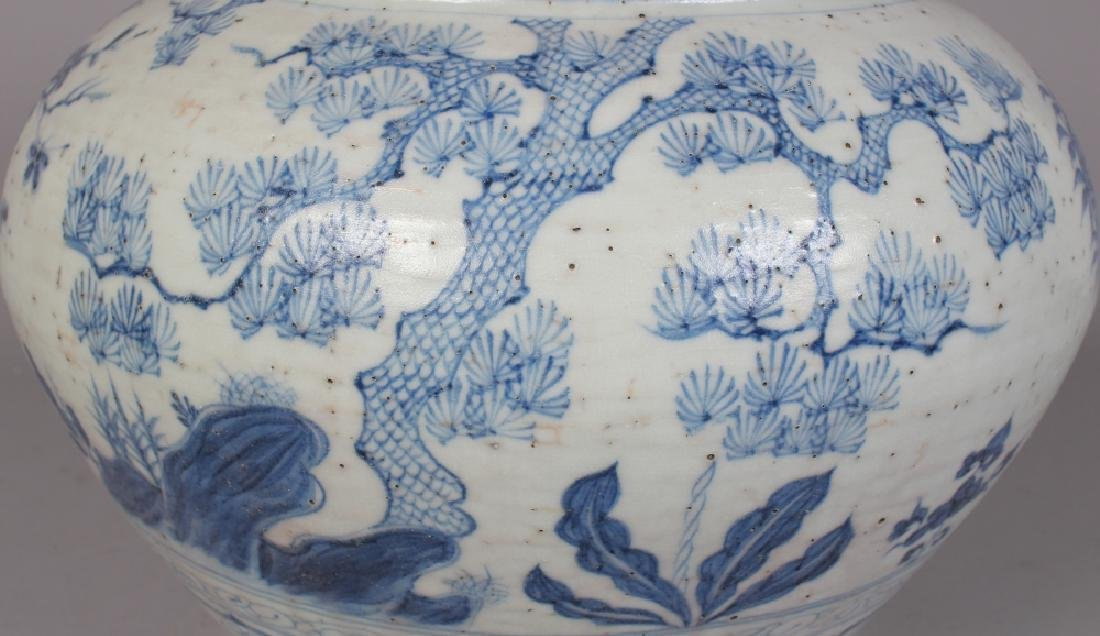 A LARGE CHINESE YUAN STYLE BLUE & WHITE PORCELAIN JAR, - 5