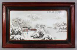 A LARGE CHINESE WOOD FRAMED PORCELAIN PLAQUE, decorated