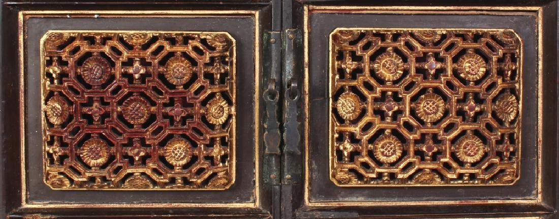 A 19TH/20TH CENTURY CHINESE GILT WOOD CABINET, the two - 5