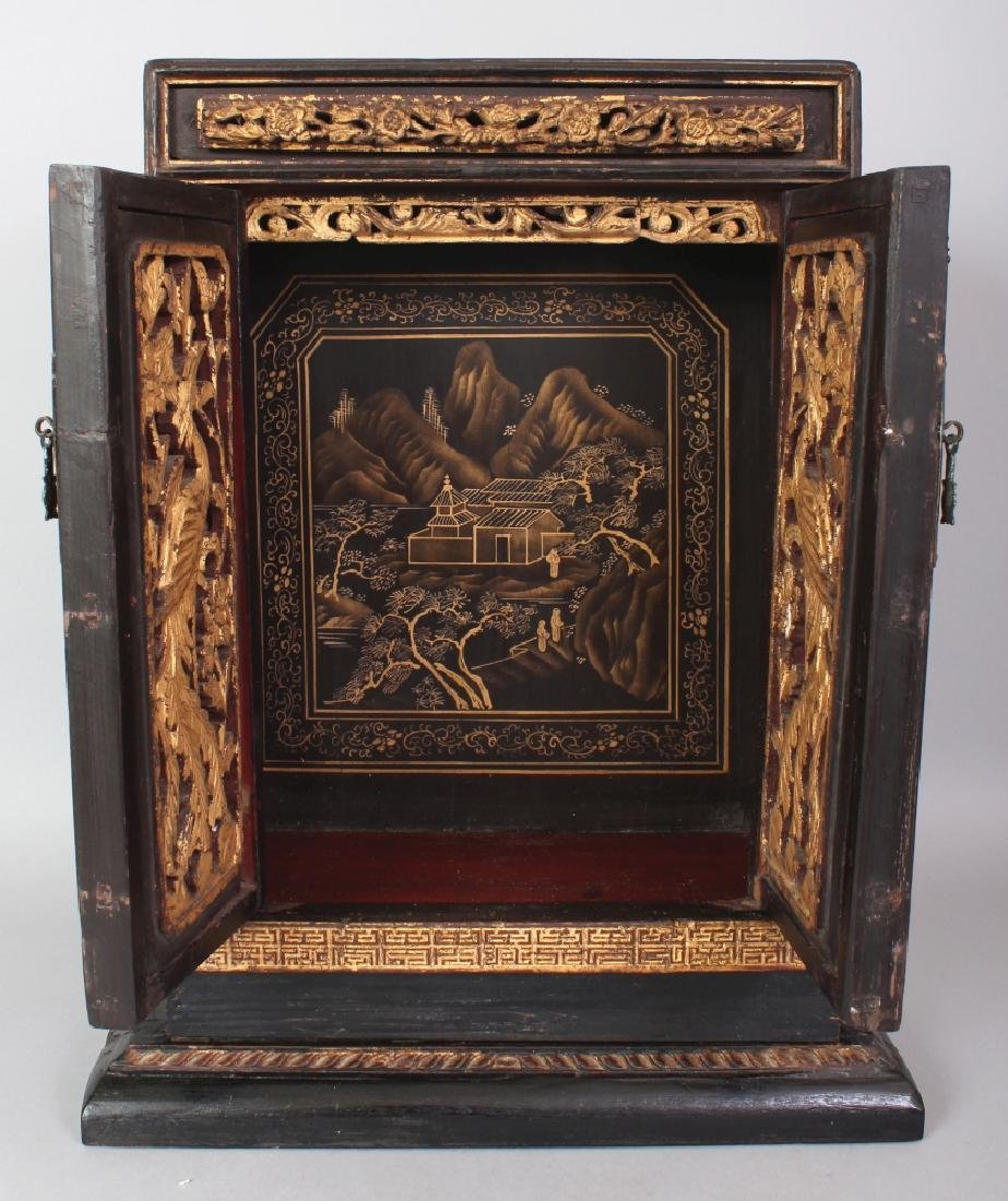 A 19TH/20TH CENTURY CHINESE GILT WOOD CABINET, the two - 6