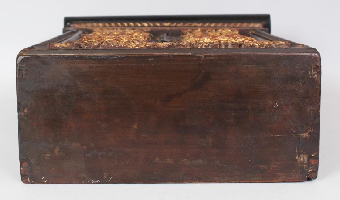 A 19TH/20TH CENTURY CHINESE GILT WOOD CABINET, the two - 9