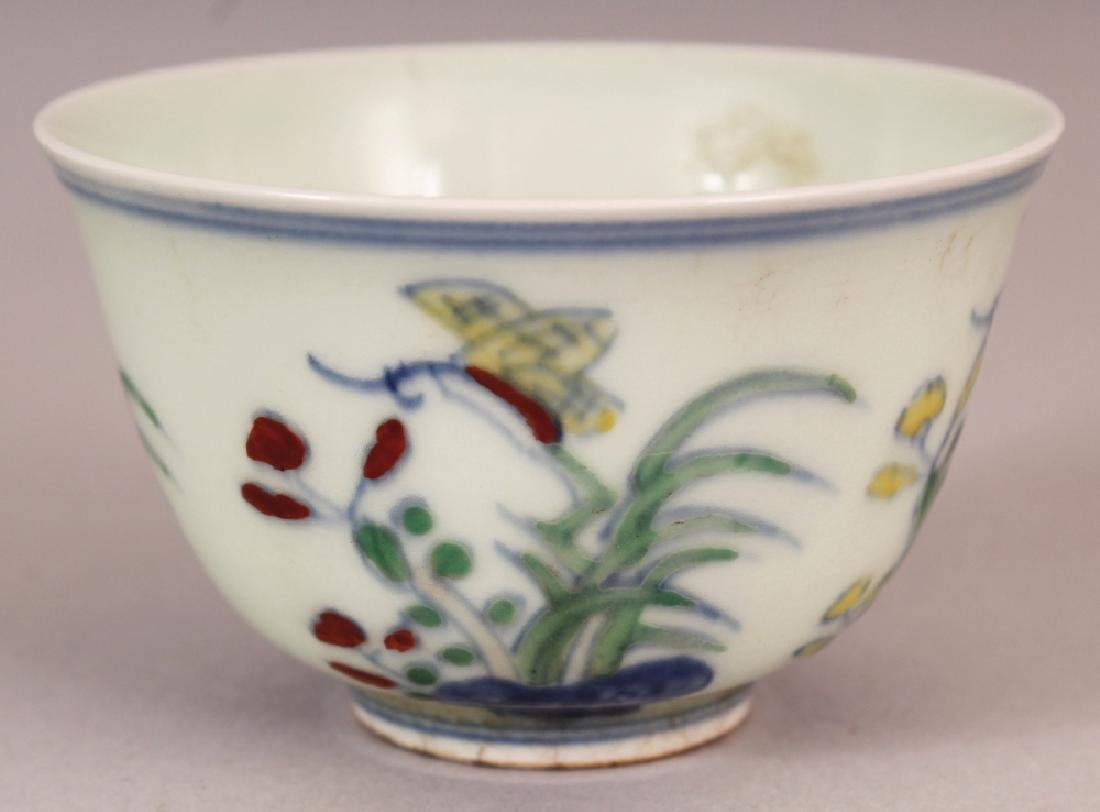 A CHINESE MING STYLE DOUCAI PORCELAIN TEABOWL, the - 4