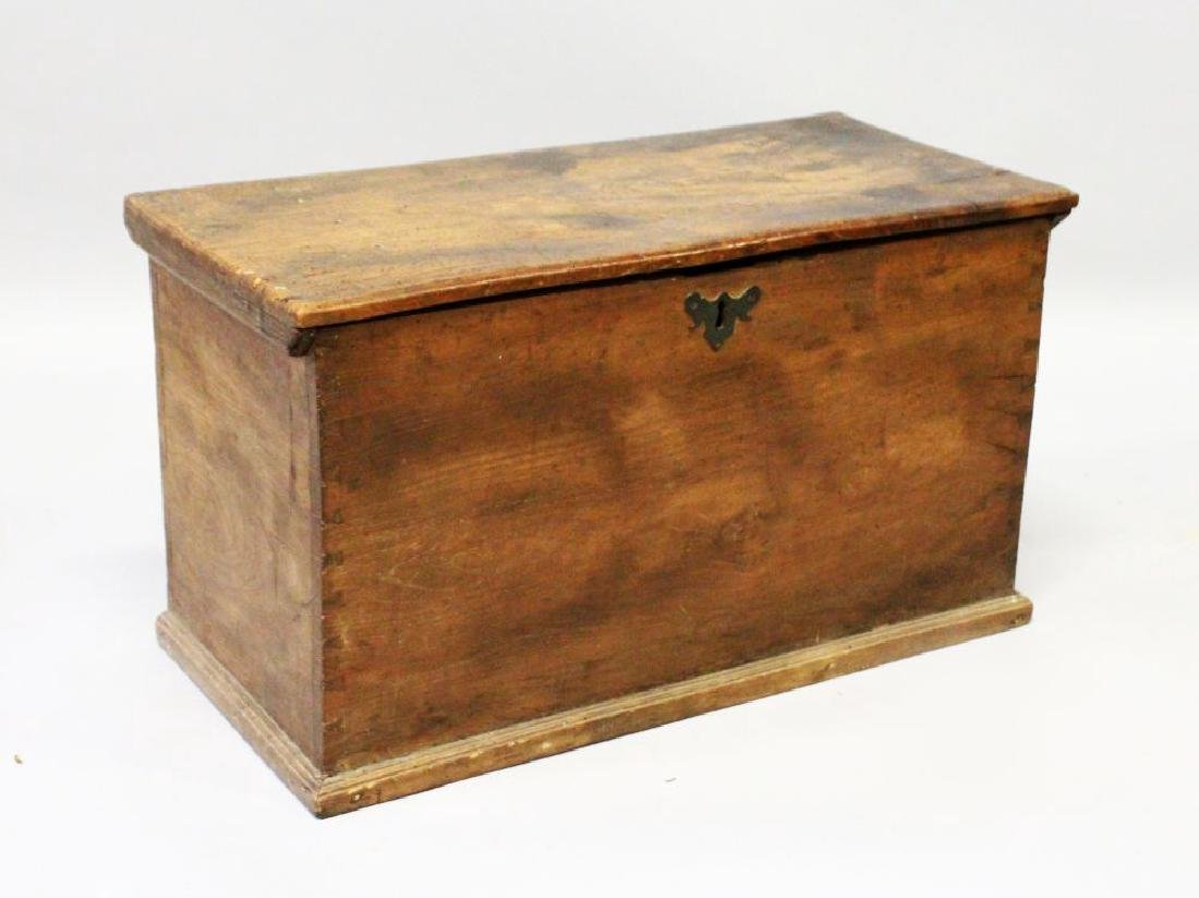 AN 18TH CENTURY COUNTRY MADE BOX of plain design, with
