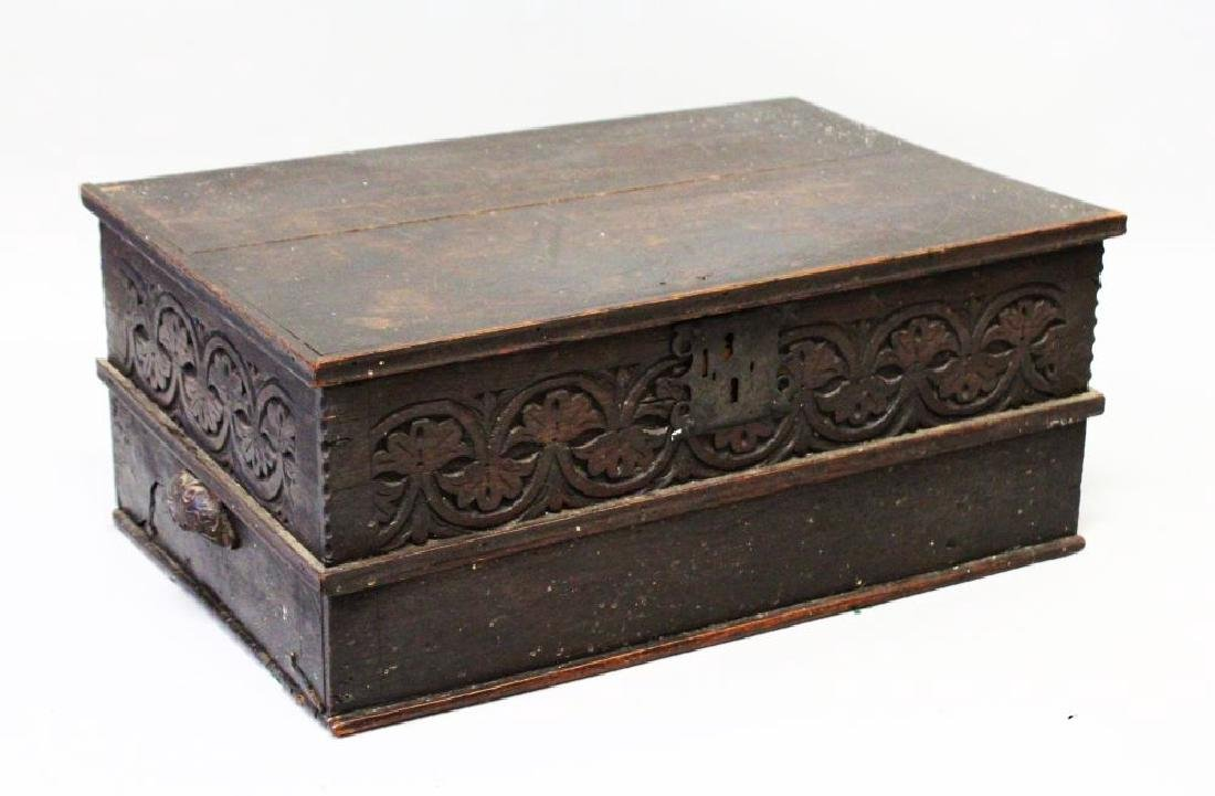A 17TH CENTURY CARVED OAK BIBLE BOX with plain top with