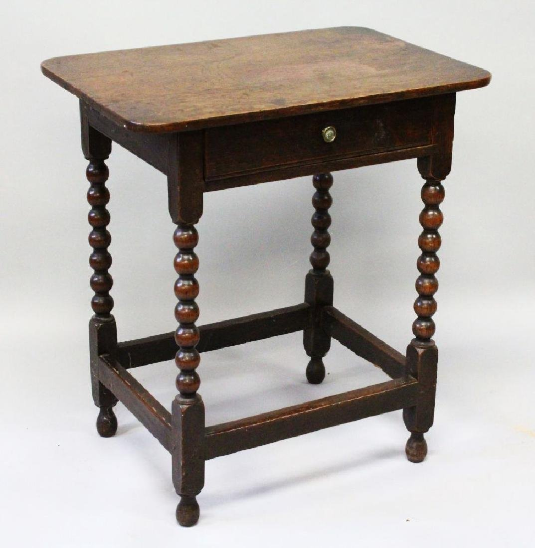 AN 18TH CENTURY OAK SIDE TABLE with plain top, side