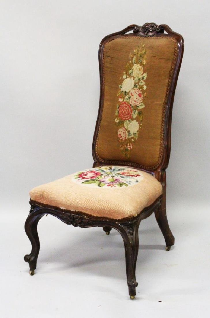 A VICTORIAN HIGH BACK NURSING CHAIR with floral