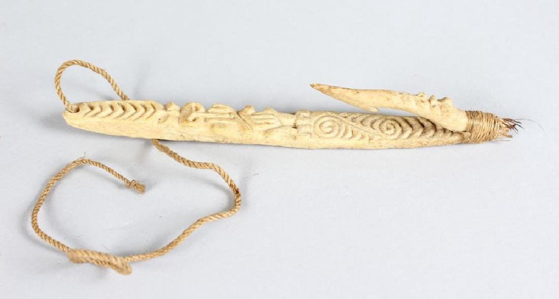 MAORI FISH HOOK, NEW ZEALAND  Matau  Carved bone, flax,