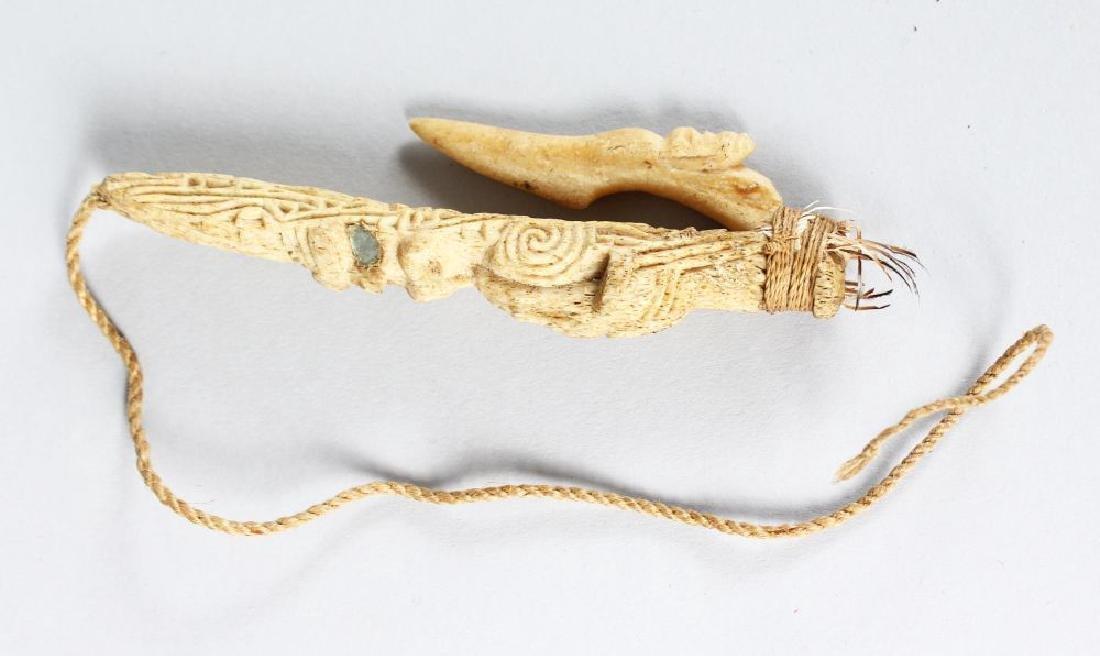 MAORI FISH HOOK, NEW ZEALAND  Matau  Carved bone,