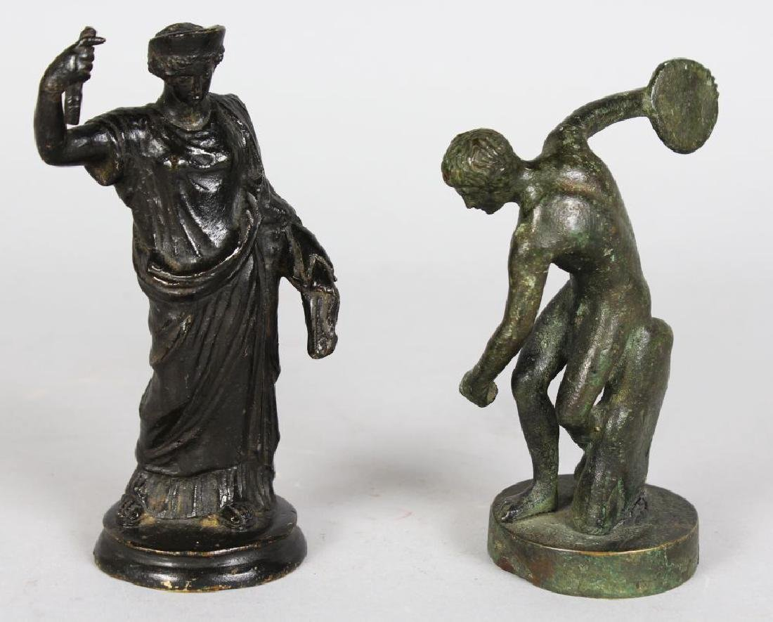 TWO SMALL EARLY BRONZE FIGURES, THE DISCUS THROWER AND