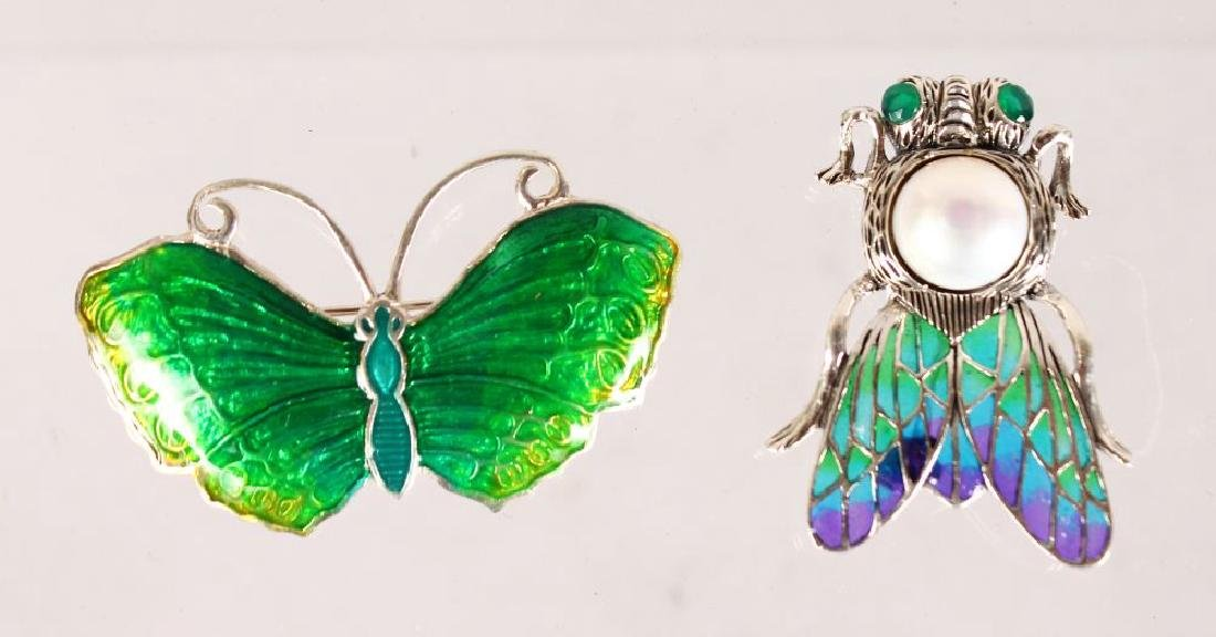 TWO SILVER AND ENAMEL BUG BROOCHES.