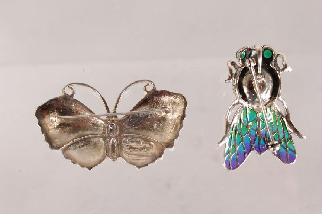 TWO SILVER AND ENAMEL BUG BROOCHES. - 2