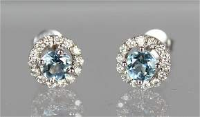 A PAIR OF 18CT WHITE GOLD AQUAMARINE AND DIAMOND