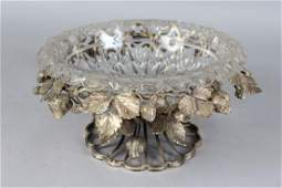 A VICTORIAN SILVER PLATE AND CUT GLASS CIRCULAR