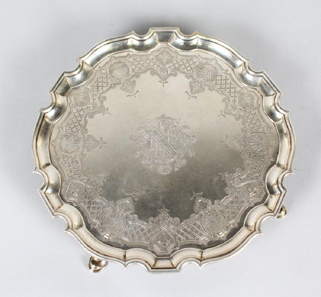 A SUPERB GEORGE II SALVER by ROBERT ABERCROMBIE, LONDON