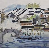 20th Century Chinese School. A River Scene, with