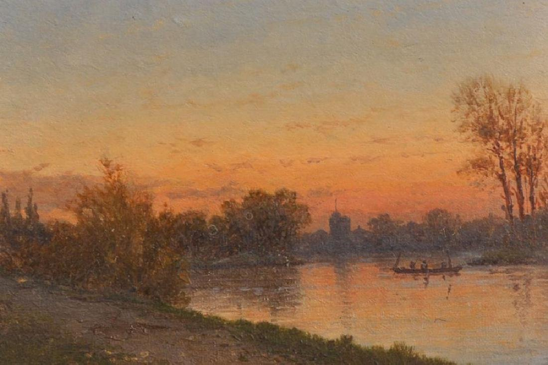 19th Century English School. A River Landscape at Dusk,