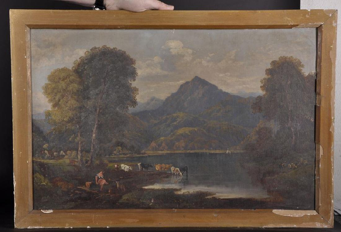19th Century English School. A River Landscape, with - 2