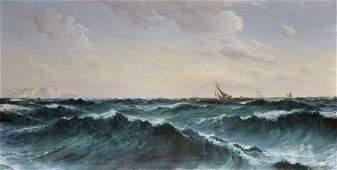 David James (1853-1904) British. A Seascape, with