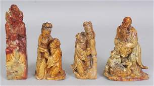 FOUR 20TH CENTURY CHINESE CARVED SOAPSTONE FIGURAL