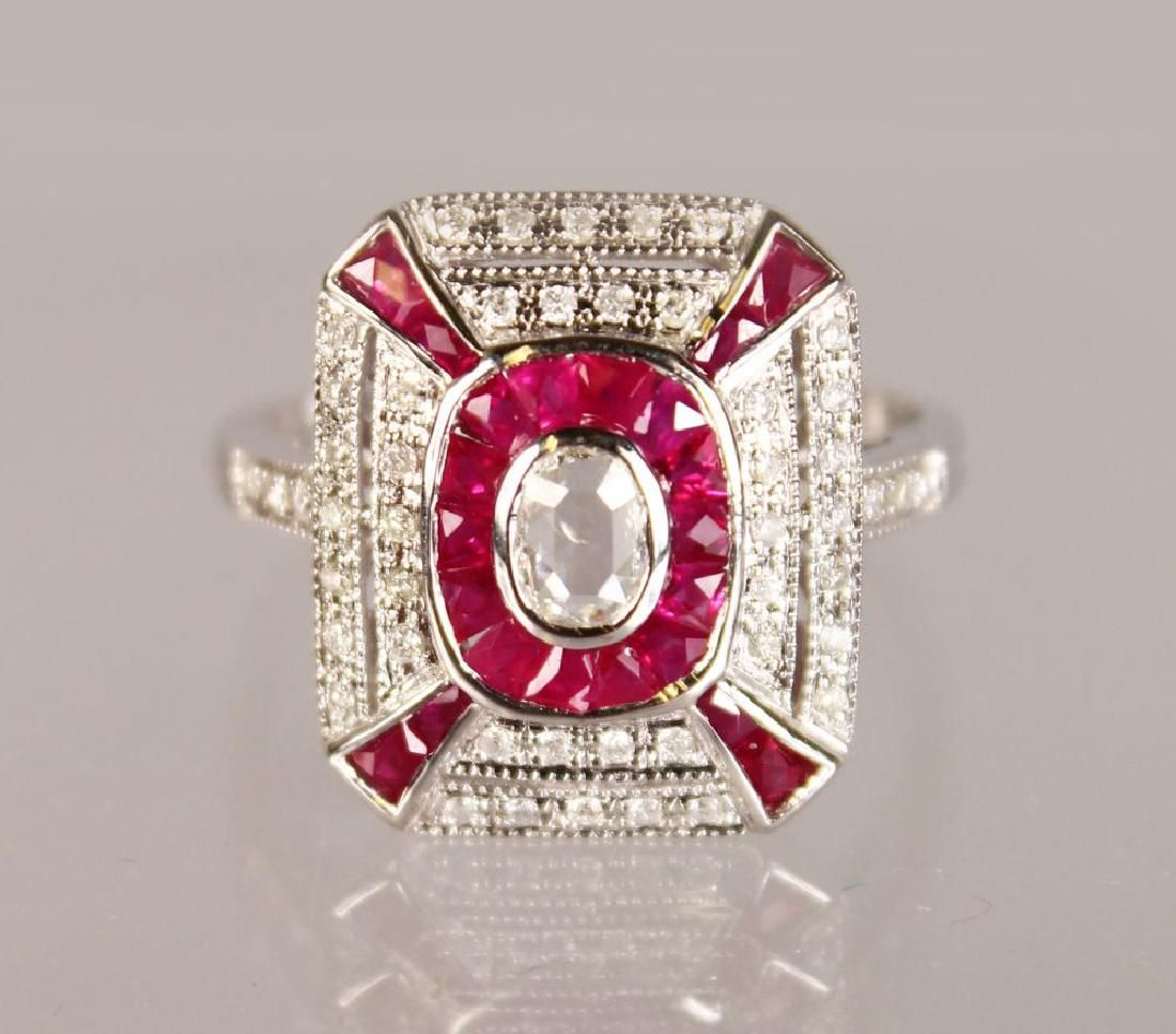 """A SUPERB 18CT WHITE GOLD """"ART DECO"""" RUBY AND DIAMOND"""