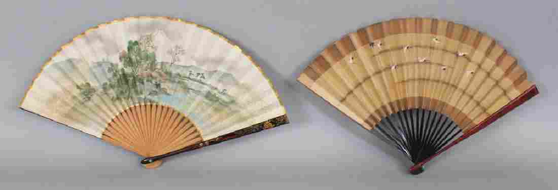 TWO EARLY 20TH CENTURY JAPANESE PAINTED PAPER FANS, one