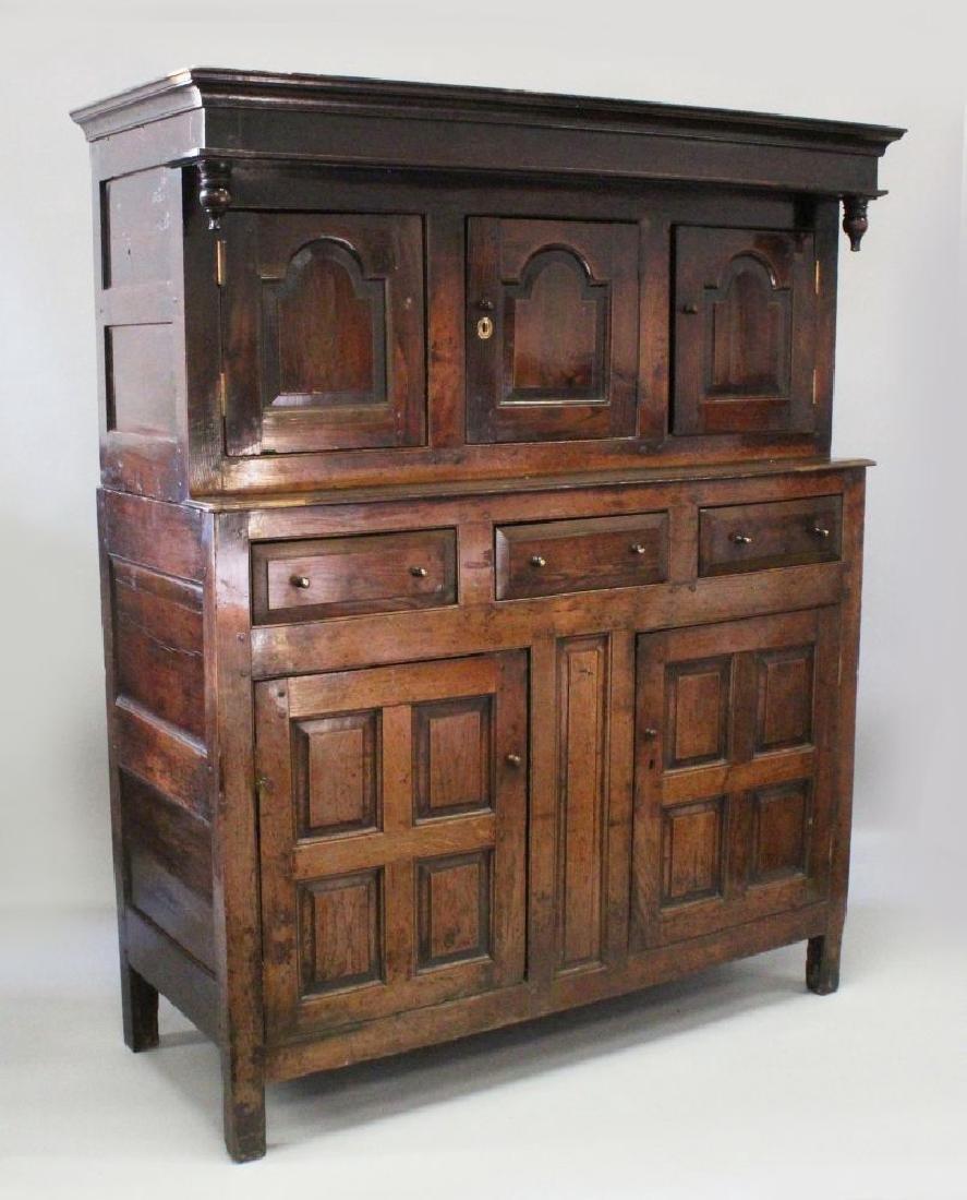 A GOOD 18TH CENTURY OAK COURT CUPBOARD of good colour,