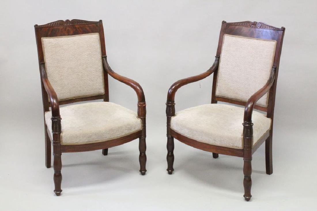 A GOOD PAIR OF EMPIRE MAHOGANY OPEN ARMCHAIRS, with