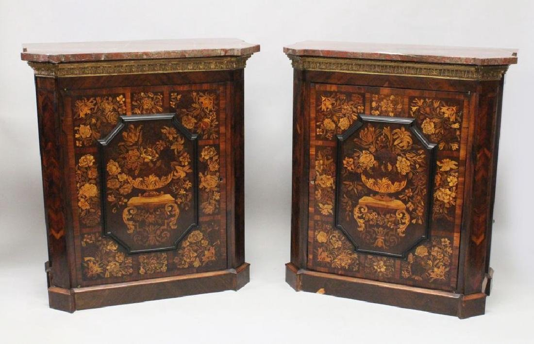 A SUPERB PAIR OF VICTORIAN MARQUETRY CABINETS, with