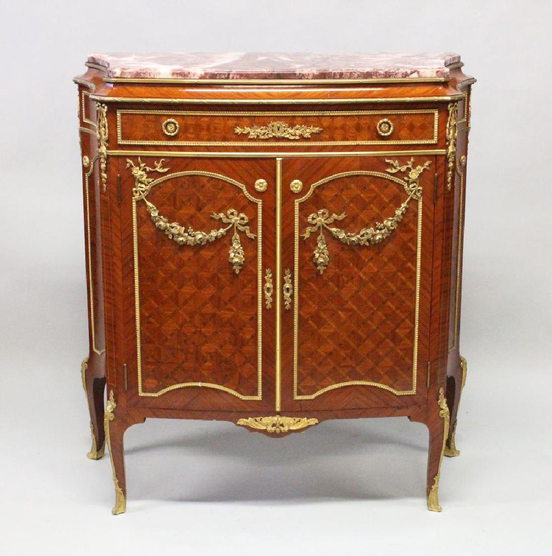 A SUPERB FRENCH LINKE MARBLE KINGWOOD CABINET, with