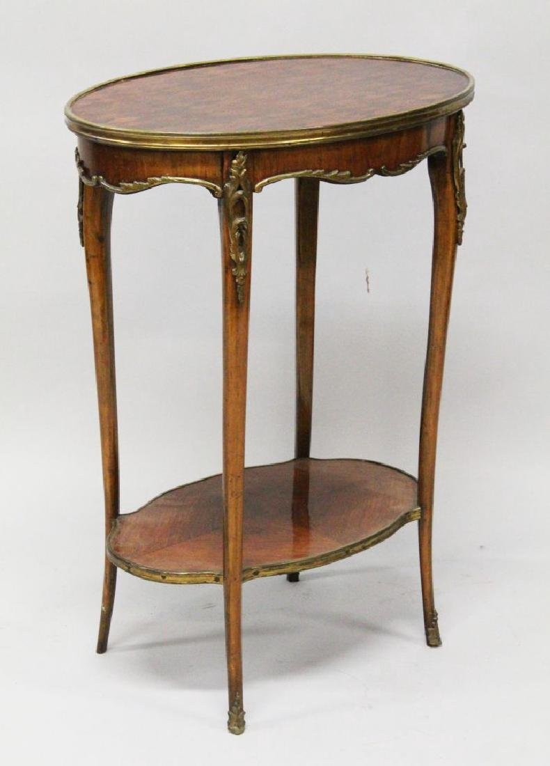A 19TH CENTURY FRENCH KINGWOOD OVAL OCCASIONAL TABLE,