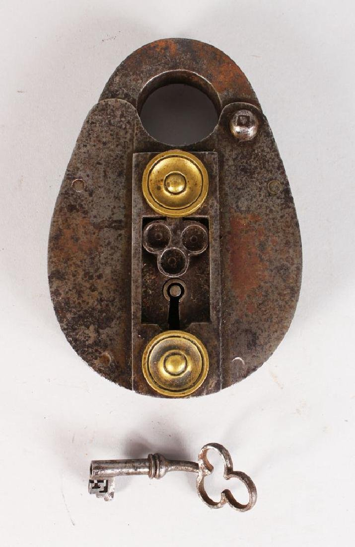 A GOOD HEAVY 17TH CENTURY POLISHED STEEL LOCK, with