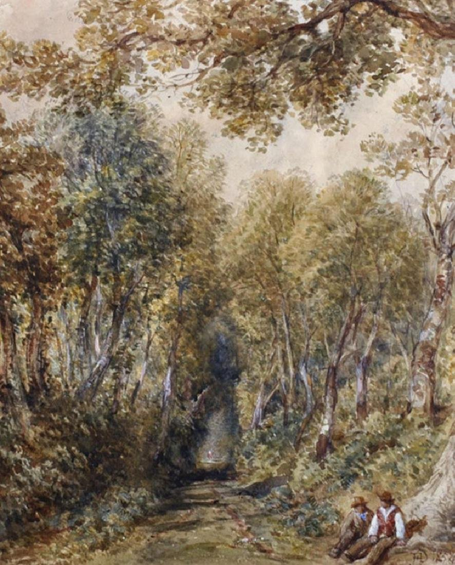 John Henry Dell (1836-1888) British. A Tree Lined Path,