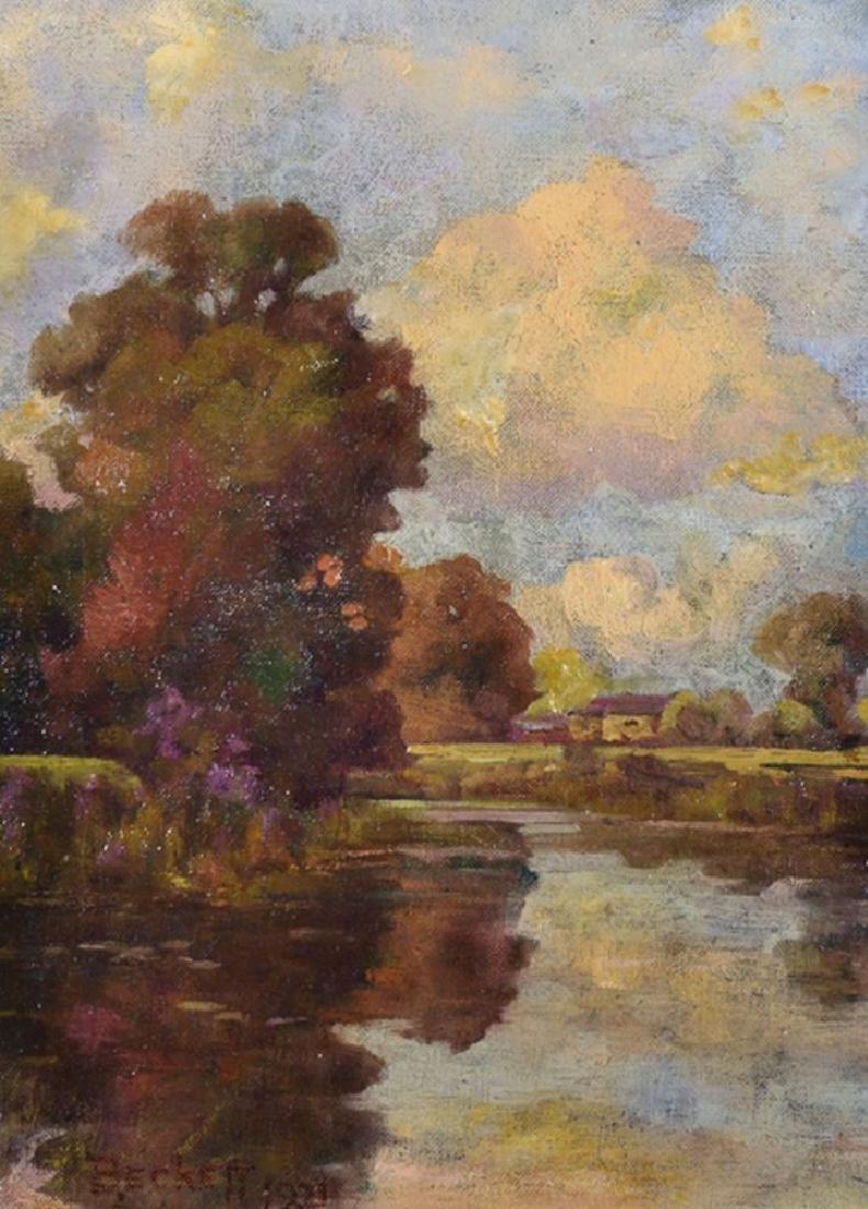 ...Beckett (20th Century) British. River Landscape, Oil