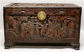 A LARGE EARLY 20TH CENTURY CHINESE CAMPHORWOOD CHEST,