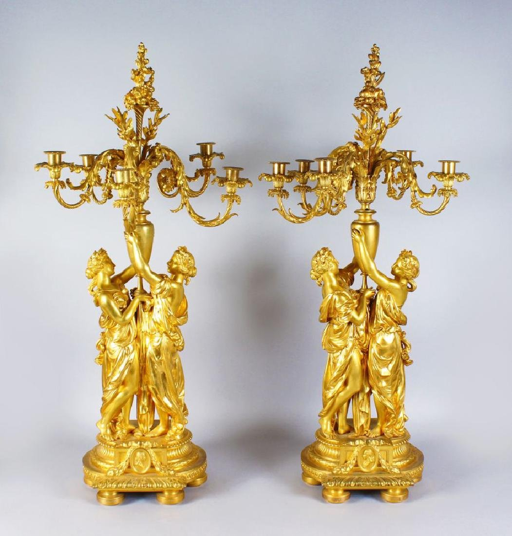 A PAIR OF EXCEPTIONAL FRENCH CANDELABRA MADE BY