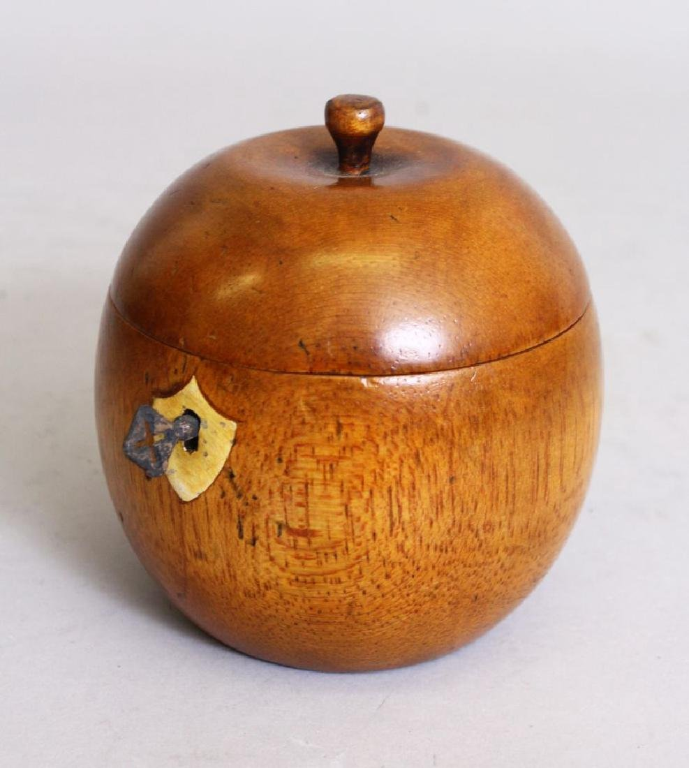 AN ORANGE WOOD TEA CADDY.  5ins high.